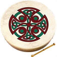 "Waltons: 8"" Inch Irish Bodhran / Beater / Carew Cross Bodhran Design"