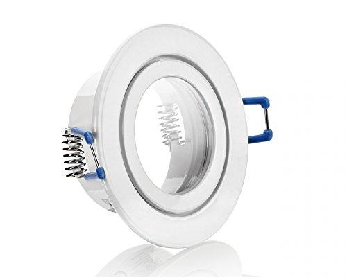IP44 Alu- Feuchtraum Badezimmer Einbaurahmen Weiß Terrassenüberdachung Beleuchtung mit Klickverschluß Spritzwassergeschützt Unterbauleuchten Alu-Einbaurahmen Starr geeignet für MR16, GU10 LEDs 230V Hochvolt Halogen Niedervolt Halogen Inkl. GU5.3 MR16 Fassung