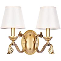 Lámpara de Pared de hierro, Retro paño creativa lámpara de mesilla Dormitorio Salón Restaurante Lámpara de Pared Pasillo escaleras Decoración lámpara de pared E14 Seleccione ( Color : Blanco , Tamaño : 35*29cm )