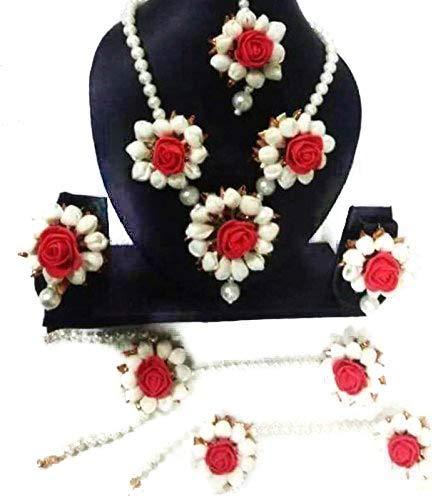 Shivi Jewels Floret Floral Jewellery Silver Pearl Mogra Red Flower Jewellery Set with Earrings, Maang Tika & Bracelets for Women
