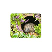 Cute Hedgehog Hiding In A Plant Pot Mouse Mat Pad - Animal Gift Computer #14340