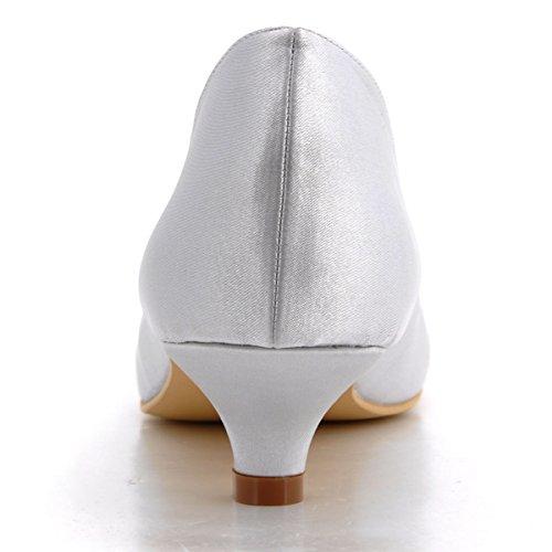 Elegantpark EP2089 Bout pointu Bas Simplement Satin Chaussures de Mariee Argent
