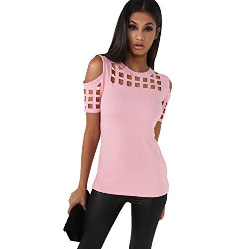 Frauen T-Shirt Tops ,Kingwo Frauen Bluse Fashion trägerlosen Hollow Out kurze Ärmel Casual T-Shirt Tops Unregelmäßige Bluse (XL, Rosa) (Ribbed Junioren Tank)