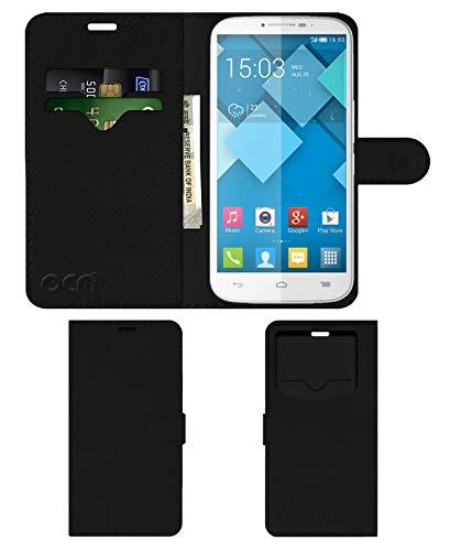 Acm Leather Window Flip Wallet Front & Back Case for Alcatel Pop C9 Mobile Cover Black