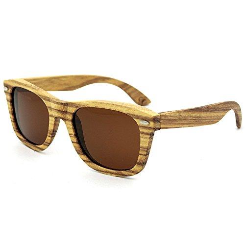 Sonnenbrillen Mode Natural Zebra Wood Sunglasses Polarized Lens UV-Schutz für Männer, Frauen (Farbe : Braun)
