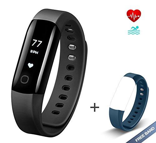 Muzili Fitness Armband Vigorun4 Fitness Tracker Wasserdicht Sport Uhr Aktivitätstracker Schrittzähler mit Herzfrequenz Monitor/Kalorien Zähler/Schlafmonitor/für iPhone und Android Smartphones