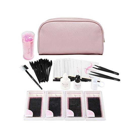 Beauty7 Kits de Extensions de cils Faux Cils Greffe Pince Colle Brosse Sac Naturel Yeux Noir Professionnel Outils