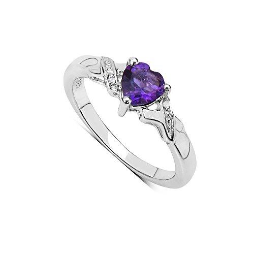 Der Amethyst Ring-Kollektion: Heart shaped Sterling Silber Verlobungsring mit Diamant Schultern, Ringgröße 56 (17.8) (Sterling Silber Heart Shaped Ring)