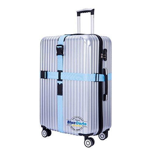 CSTOM Croix Sangles Bagages Sangle de Voyage Valise Bagage Clipsable - Bleu