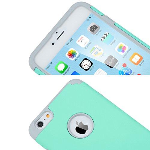 Cover iPhone 6s Plus, ULAK Cover per iPhone 6 Plus Marmo Custodia Stampato Design PC + Silicone ibrido impatto grande Difensore Combo duro morbido Case per Apple iPhone 6 Plus/ 6s Plus 5.5 (Marmo) Grigio + Blu