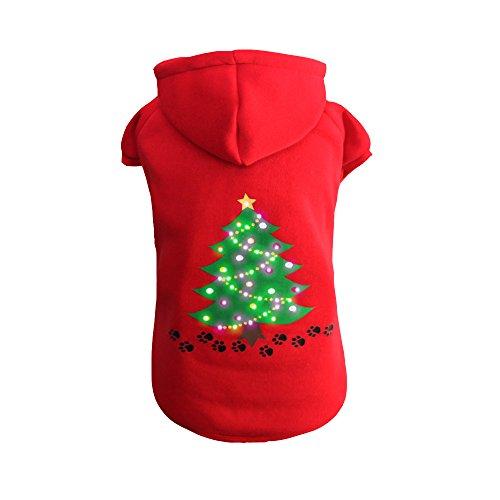 Ein Weihnachtsgeschenk Macht Kostüm (Doggie&Kitty LED Beleuchtung Fustige Haustier Wintermantel Kostüm Kapuzenpulli Kleidung Kapuzenpullover für Hunde Weihnachtsgeschenk Weihnachtsbäume Mantel Pullover Rot)