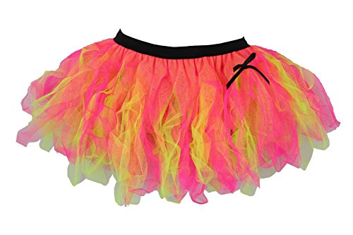 A gorgeous cerise pink & UV yellow Cyber Tutu Skirt for ladies - Standard or Plus Sizes