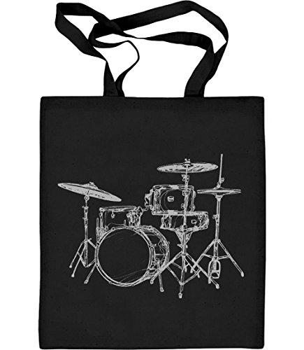 Cooles Geschenk für Schlagzeuger und Drummer Jutebeutel Baumwolltasche One Size Schwarz (Toms Freunde T-shirt)