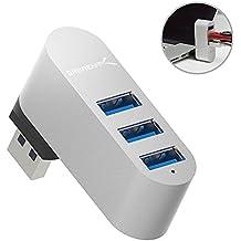 Mini-Concentrador USB 3.0 giratorio de aluminio Sabrent Premium con 4 puertos [90°/180° grados de rotación] (HB-R3MC)