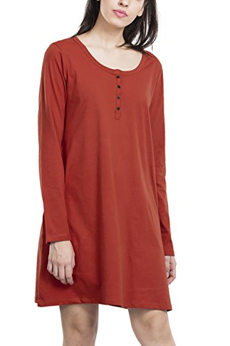 Bewakoof Womens Cotton Plain T-Shirt Dress Henley_Rust Orange _X-Small