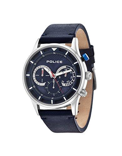 Police Driver Orologio da Polso, Cronografo, Uomo, Pelle, Blu