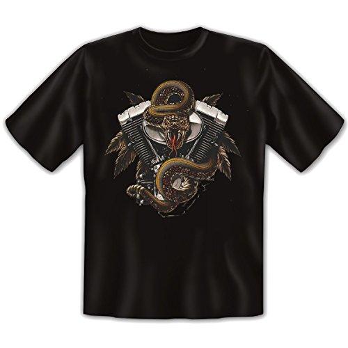 Biker - Damen und Herren T-Shirt mit dem Motiv: Bike engine Größe: Farbe: schwarz - von van Petersen Shirts Schwarz