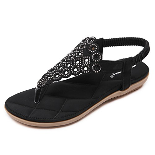 Belloo Frauen Sommer Flache Flip Flop Sandalen Boho Schuhe mit Steinen,Schwarz-2,37