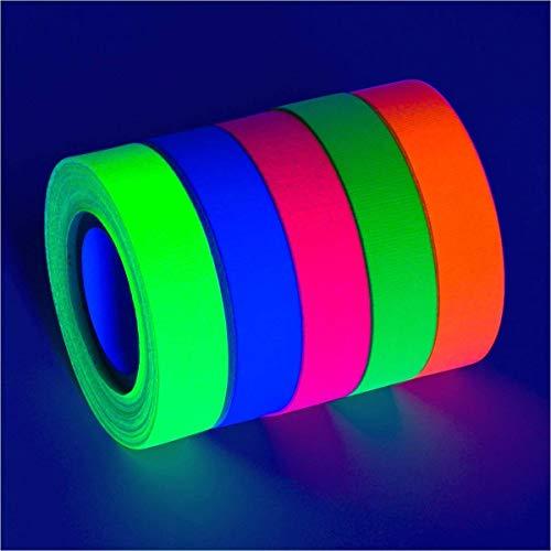 Povad Neon Klebeband UV Schwarzlicht Klebeband Gewebeband Gaffer Tape Neon, 5 Farben, (15MM x 5M) Pro Farbe