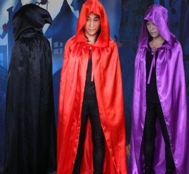 Westeng Halloween Kleidung Hexe Schwarz Tod Mantel Schwarz Rot Teufelsumhang (rot)