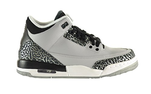 Air Jordan 3 Retro BG Big Kids Shoes Wolf Grey/Metallic Silver-Black-White 398614-004 (4.5 M US)