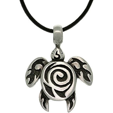 Tendencias de la joyería tribal de tortuga de mar Estaño con espiral Unisex Colgante de 18pulgadas collar de piel), color negro