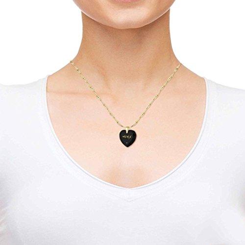 Pendentif Coeur - Bijoux Romantique Plaqué Or avec Je t'aime en langage Elfique inscrit en Or 24ct sur un Zircon Cubique en Forme de Coeur, Chaine en Or Laminé de 45cm - Bijoux Nano Noir