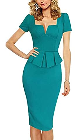 Minetom Women Elegant V-Neck Short Sleeve Fake 2 Pieces Peplum