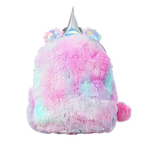 Zaino unicorno peluche zaino zaino scuola unicorno carino fluffy alla moda per bambini ragazze signore (2)