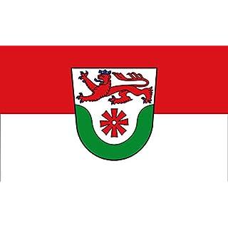 DIPLOMAT Flagge Stadt ErkrathBeschreibung des Wappens In Silber Weiß über einem grünen Tal ein rotes Mühlrad | Querformat Fahne | 0.06m² | 20x30cm für Flags Autofa