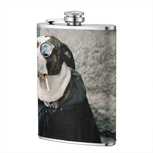 Tier Hund lustig Humor Sonnenbrille Flachmann Tasche Flasche Flagon 8oz tragbare Edelstahl Flagon Camping Mug Outdoor Cup Weinflasche -
