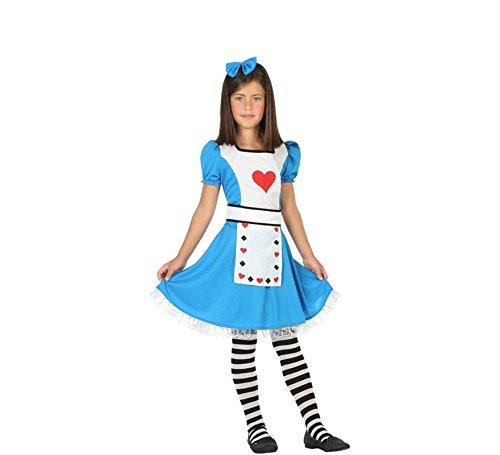 (ATOSA 56335 Kostüm für Mädchen Costume Alice 7-9, Blau/Weiss/Rot, 7 a 9 años)