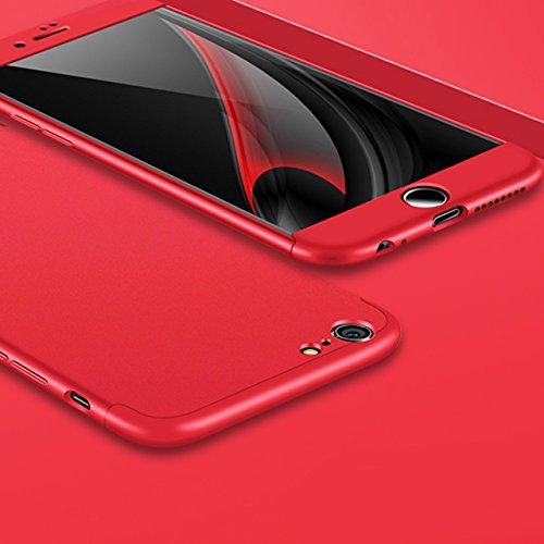 iPhone 8 / iPhone 7 Coque Sunroyal Protection Souple PC 3 en 1 Détachable Housse Full Cover 360 Housse Integrale Bumper Etui Case Accessoires Ultra Fin Et Discret Étui Hybride 360 Degres Combinaison E Rouge