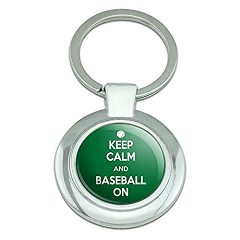 Graphics and More Keep Calm And Baseball On Sports Classy Round Chrome Plated Metal Keychain