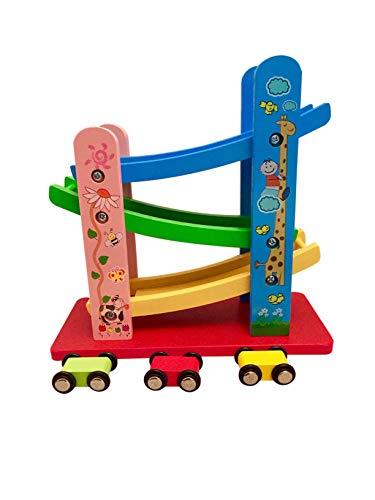 Autorennbahn, Motorik Spielzeug, bunt, Holz Spielzeug 3+ Geschenk Kinder Kleinkinder ab 36 Monate Holzrennbahn Auto ()