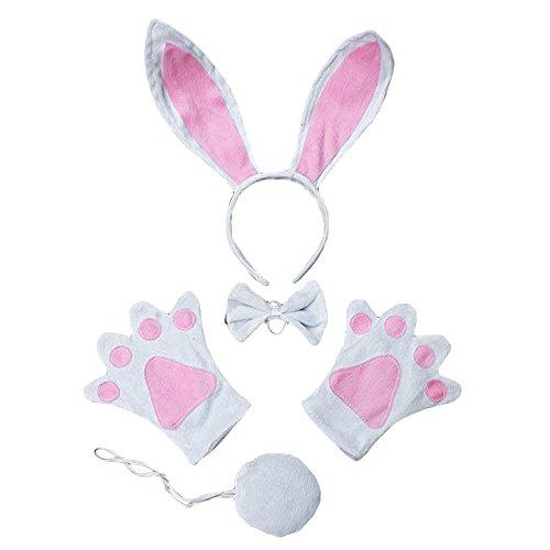 Vococal® Enfants Halloween Costume Bandeau d'oreille de Lapin + Cravate + Queue + Gants 4 Pièces Set pour Déguisements Cosplay Party Costume de No?l(Lapin-Enfants)