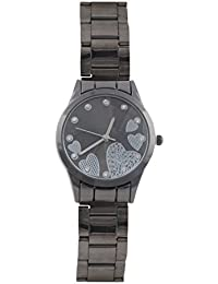 KMS Heart Dial Women's Black Analog Watches