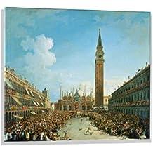 """Immagine su vetro: Vincenzo Chilone """"Festzug auf der Piazza San Marco in Venedig"""", immagine da parete di alta qualità, stampa artistica brillante su vetro vero, 80x60 cm"""