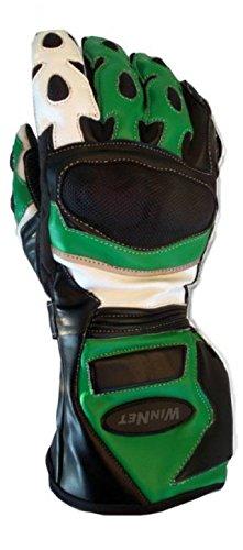 WinNet guanti da per moto in pelle con protezioni pista o sst