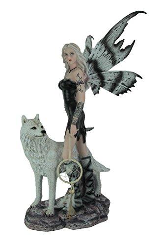 Everspring Harz Statuen Warrior Statue Fee mit Weiß Wolf und Dream Catcher 33x 57,1x 30,5cm farbenreiche