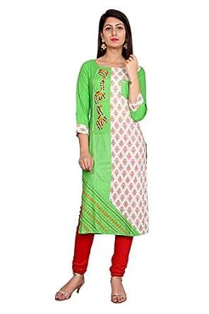 Rama's Green Embroidery Rayon 3/4 Sleeve Kurti For Women