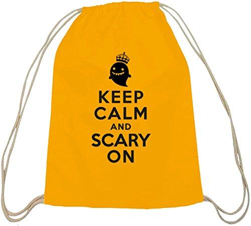 ween - Keep Calm And Scary On, Baumwoll natur Turnbeutel Rucksack Sport Beutel, Größe: onesize,gelb natur ()