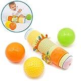LUDI - Coffret de jeu d'éveil : 3 balles d'éveil, 1 tube gonflé avec fourreau en tissu. Développe la dextérité. Multitude d'activités, différentes couleurs, textures - 30001