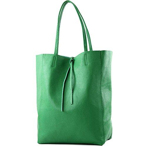 modamoda de - T163 - Ital. Shopper Schultertasche aus Leder, Farbe:Grün -