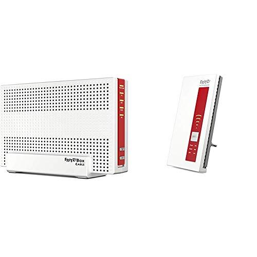able WLAN AC + N Router (DOCSIS-3.0-Kabelmodem, Dual-WLAN AC+N mit 1.733 Mbit/s (5 GHz) + 800 MBit/s (2,4 GHz)) & FRITZ!WLAN Repeater 1750E, Rot/Weiß, deutschsprachige Version ()