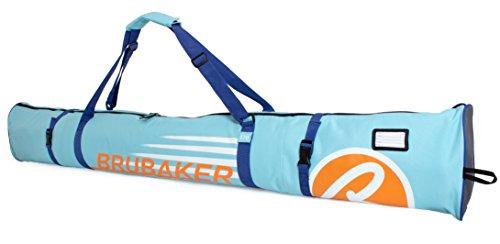 BRUBAKER Skitasche Carver Champion gepolsterter Skisack für 1 Paar Ski und Stöcke 170 cm Hellblau Orange
