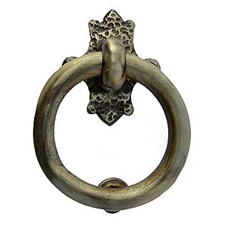 Aakrati Ring Shaped Simple But Unique Brass Door Knocker in Golden Look Brown