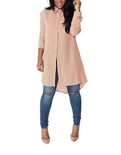 Yidarton Damen Hemdkleid V-Ausschnitt Button Chiffon Langarm Slim Casual Blusenkleid Minikleid Bluse Tops (Medium, Khaki)