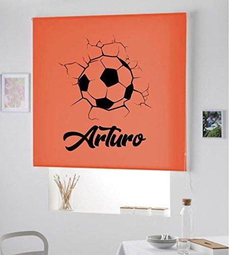 ARONE TEXTIL Nouveau Stores Roller Transparent Effet PURPURINA- ESTOR Named/ESTOR Enfant Aveugle Ball Football avec NOM pour Enfants Custom Chambre (Orange, 100X175)