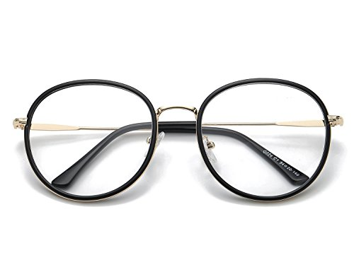 Bmeigo Unisex Klare Linse Gläser Retro-Runde schwarze Rahmen klassische Mode Brillen